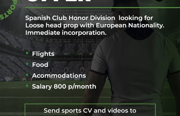 Spanish Club Honor Division looking for Loose head prop with European Nationality.  Immediate incorporation.